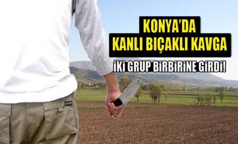 Konyada arazi kavgası, iki grup birbirine girdi