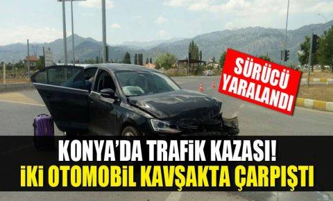 Konyada trafik kazası! iki otomobil kavşakta çarpıştı