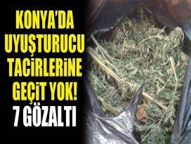 Konyada uyuşturucu tacirlerine geçit yok! 7 gözaltı