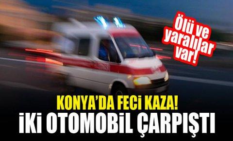 Konyada feci kaza! İki otomobil çarpıştı