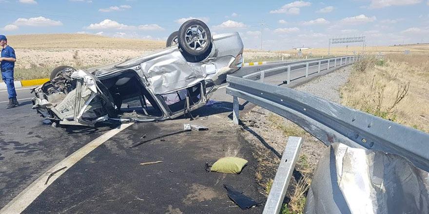 Konyada otomobil takla attı: 1 ölü, 7 yaralı