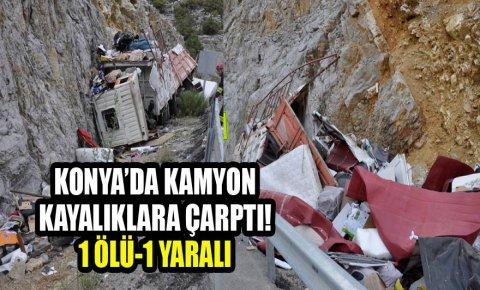 Kontrolden çıkan kamyon kayalığa çarptı: 1 ölü, 1 yaralı