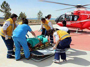 Hava ambulansıyla Meram Tıpa sevk edildi