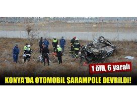 Konyada otomobil şarampole devrildi: 1 ölü, 6 yaralı