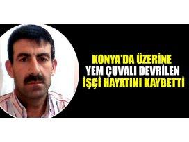 Konyada üzerine yem çuvalı devrilen işçi hayatını kaybetti