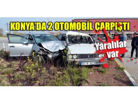 Konya'da 2 otomobil çarpıştı: Yaralılar var