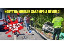 Konyada minibüs şarampole devrildi; karı- koca ve çocukları yaralı