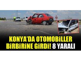 Konyada otomobiller birbirine girdi! 8 yaralı