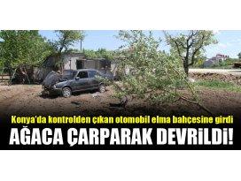 Konyada kontrolden çıkan otomobil elma bahçesine girdi, ağaca çarparak devrildi!