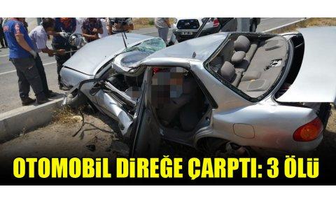 Otomobil direğe çarptı: 3 ölü