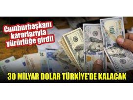 Cumhurbaşkanı kararlarıyla yürürlüğe girdi! 30 milyar dolar Türkiyede kalacak