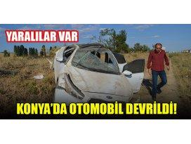 Konya'da otomobil devrildi: Yaralılar var