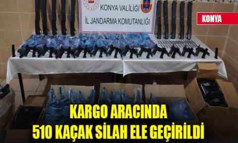 Konyada kargo aracında 510 kaçak silah ele geçirildi