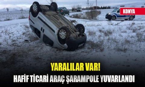 Hafif ticari araç şarampole yuvarlandı: Yaralılar var