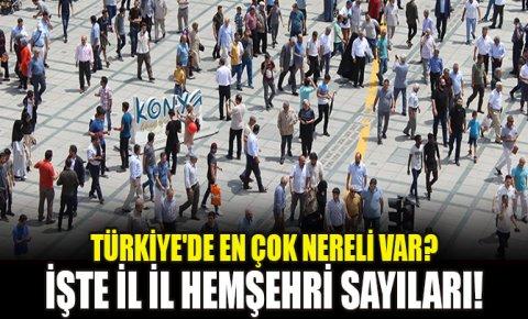 Türkiyede en çok nereli var? İşte il il hemşehri sayıları!
