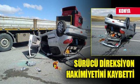 Konyada devrilen otomobildeki iki kişi yaralandı