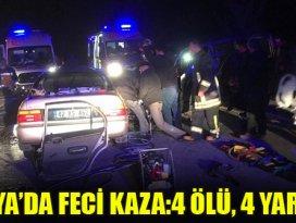Konyada otomobil ile hafif ticari araç çarpıştı: 4 ölü, 4 yaralı