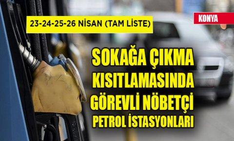 Konyada sokağa çıkma kısıtlamasında görevli nöbetçi petrol istasyonları