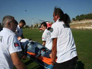 Kazazede helikopter ambulansla sevk edildi