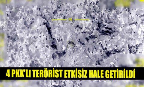 Irak kuzeyinde 4 PKK'lı terörist etkisiz hale getirildi