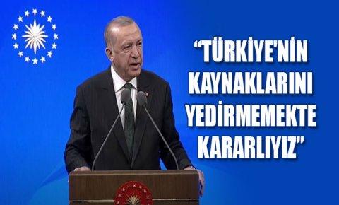 Erdoğan: Türkiyenin kaynaklarını yedirmemekte kararlıyız