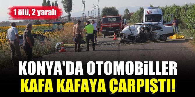 Konyada otomobiller kafa kafaya çarpıştı! 1 ölü, 2 yaralı