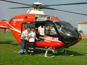 Bebek helikopterle Konyaya geldi