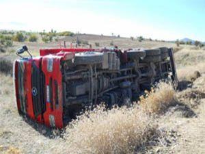 Kurbanlık taşıyan kamyon devrildi