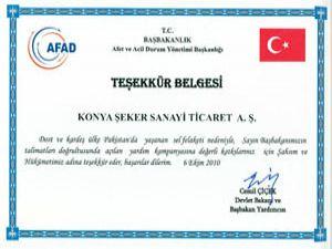 Başbakanlıktan Konya Şekere teşekkür