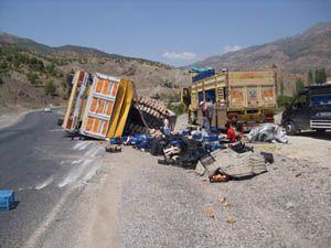 Sebze yüklü kamyon devrildi