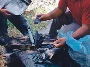 Helikopterin yakılan bazı parçaları bulundu