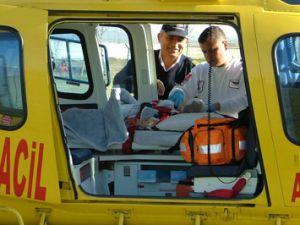 Yeni doğan bebeğe hava ambulansı