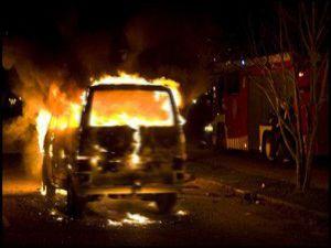 Beyşehirde araç yangını