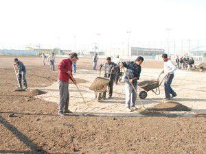 Yeni antreman sahası çimlendirildi