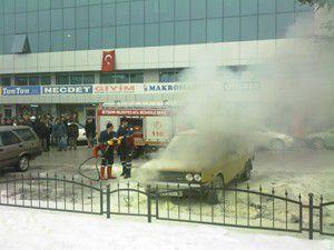 Beyşehirde otomobil yangını