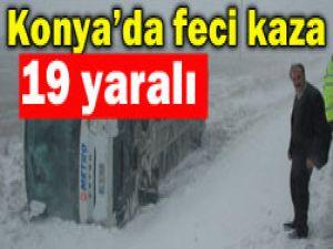 Konyada otobüs kazası;19 yaralı