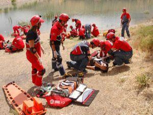 Konyada profesyonel kurtarma tatbikatı