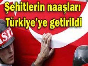 Şehitlerin naaşları Türkiyede