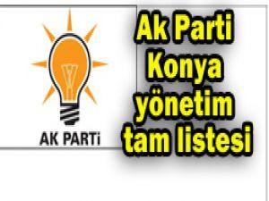 Ak Parti Konya yönetim listesi