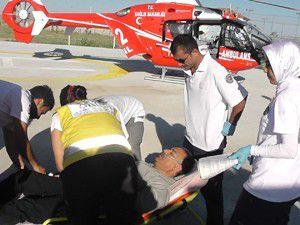 Kalp krizi geçirdi, hava ambulansı yetişti