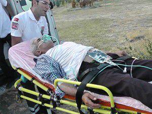 Kalp krizi geçiren hastaya helikopter yetişti