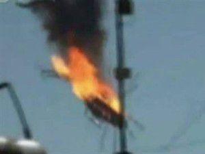 Esadın sarayına yakın bölgede helikopter düştü