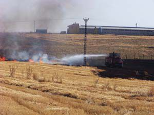 Konyada anız yangını