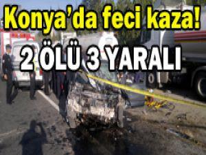 Konyada trafik kazası: 2 ölü, 3 yaralı