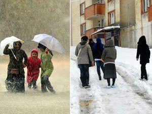 Batıda yağmur Doğuda kar