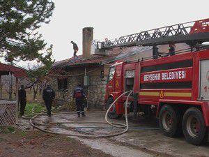 Beyşehirde at çiftliğinde yangın