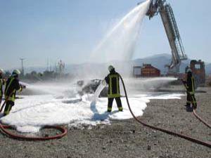 Akşehir itfaiyesinden yangın tatbikatı