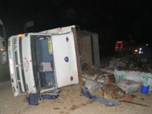 Aynı yerde iki kamyon devrildi; 3 yaralı
