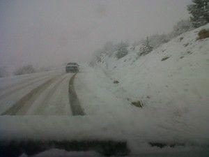 Derbentte yoğun kar yağışı