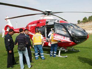Traktör kazası helikopter getirtti
